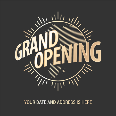 Grand opening vector banner. Template graphic design element for opening ceremony Imagens
