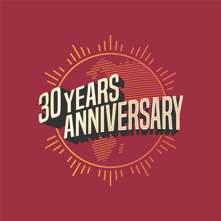 30th: 30 years anniversary vector icon, logo. Graphic design element for decoration for 30th anniversary card