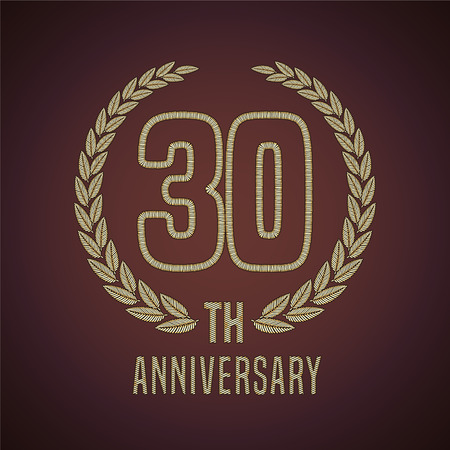 30th: 30 years anniversary vector icon, logo. Graphic design element with golden decorative branch for 30th anniversary card Illustration