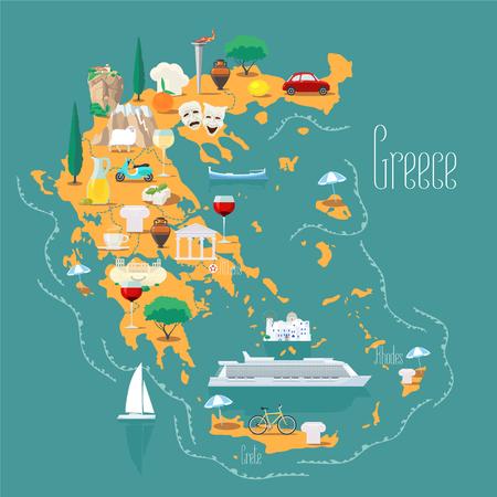 Mappa della Grecia con isole illustrazione vettoriale, design. Icone con punti di riferimento greci, acropoli e cibo. Archivio Fotografico - 73589874