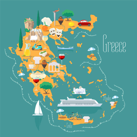 Map of Greece with islands vector illustration, design. Icons with Greek landmarks, acropolis and food. Illustration