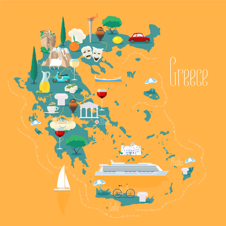 Map of Greece with islands vector illustration, design element. Icons with Greek ancient ruins, acropolis. Illustration