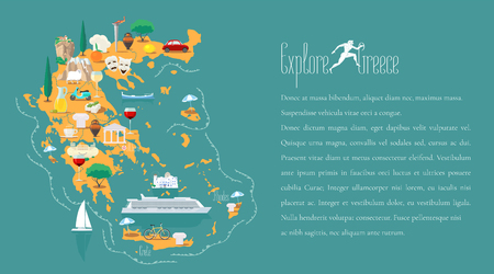 Map of Greece template vector illustration. Icons with Greek ruins, columns, acropolis. Explore Greece concept image Illustration