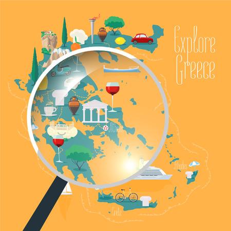 Map of Greece vector illustration, design element. Icons with Greek landmarks, travel places of interests. Illustration