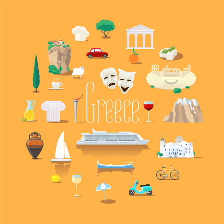 Set of icons with Greek landmarks in vector. Round shape design element with ruins, Athens acropolis.
