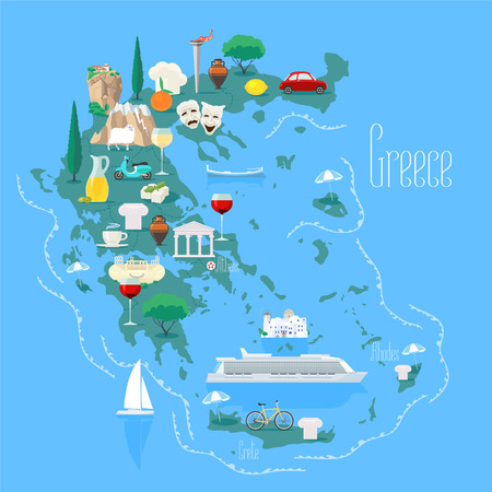 Map of Greece with islands vector illustration, design element. Icons with Greek landmarks. Çizim
