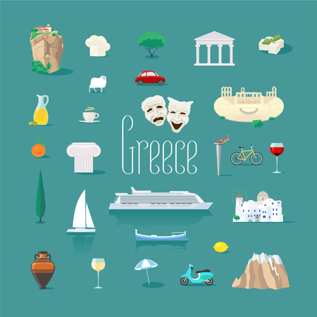 Set of icons with Greek landmarks in vector. Ancient ruins, Athens acropolis, Santorini island.