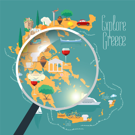 Map of Greece vector illustration, design element. Icons with Greek landmark, culture.