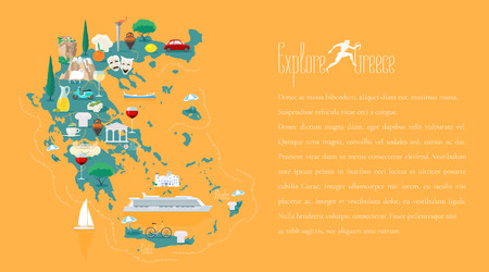 touristic: Map of Greece template vector illustration. Icons with Greek ruins, travel destinations.