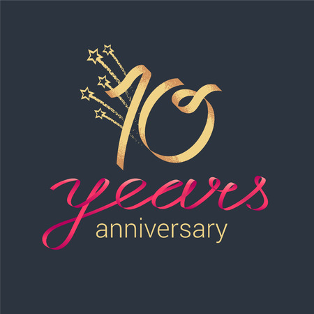 10 years anniversary vector icon, logo. Graphic design element with lettering and red ribbon for decoration for 10th anniversary ceremony