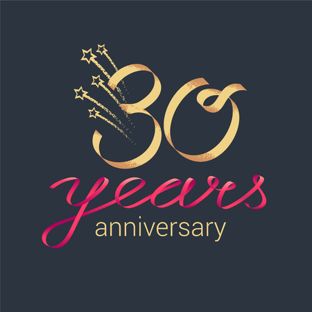 30 years anniversary vector icon, logo. Graphic design element with lettering and red ribbon for decoration for 30th anniversary ceremony Vectores