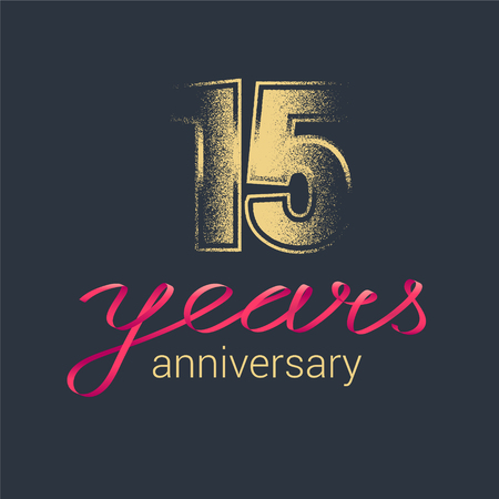 15 years anniversary vector icon, logo. Graphic design element with golden glitter stamp for decoration for 15th anniversary Illustration