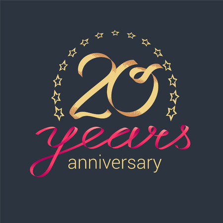 20 years anniversary vector icon, logo. Graphic design element with golden realistic ribbon curls for decoration for 20th anniversary Illustration