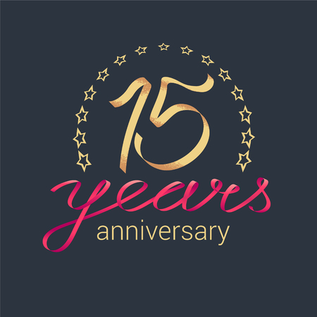 15 years anniversary vector icon, logo. Graphic design element with golden realistic ribbon curls for decoration for 15th anniversary Illustration