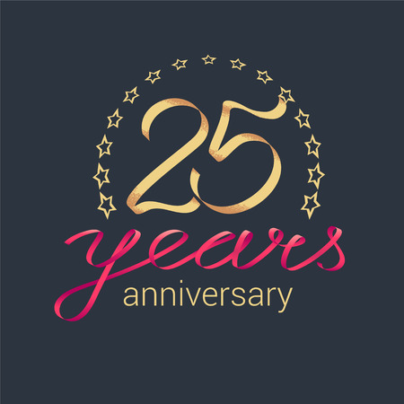 25 years anniversary vector icon, logo. Graphic design element with golden realistic ribbon curls for decoration for 25th anniversary