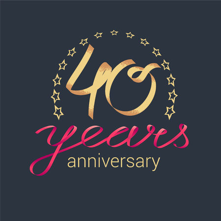 40 years anniversary vector icon, logo. Graphic design element with golden realistic ribbon curls for decoration for 40th anniversary