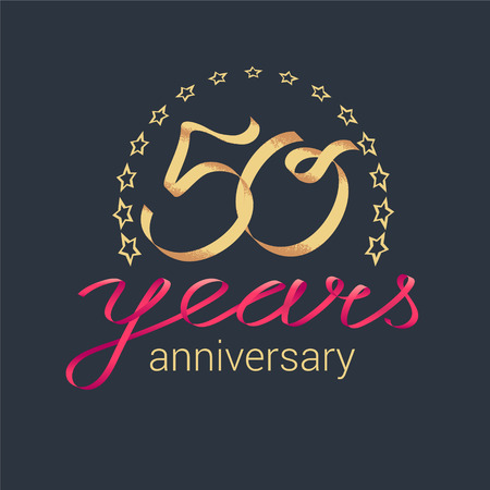 50 years anniversary vector icon, logo. Graphic design element with golden realistic ribbon curls for decoration for 50th anniversary