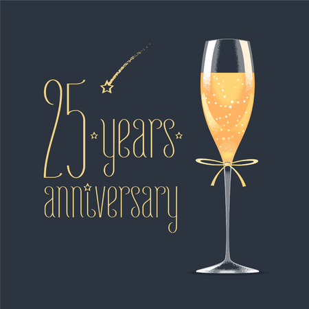 25th: 25 years anniversary vector icon, logo. Graphic design element with golden lettering and glass of champagne for 25th anniversary greeting card or banner Illustration