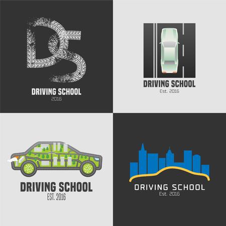 Verzameling van rijschool vector emblemen. Auto op het grafisch ontwerpelement van de weg. Professionele rijlessen voor de automatische illustratie van het vergunningsconcept Vector Illustratie