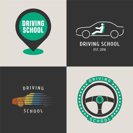 Set van rijschool vector logo. Kaart wijzer, auto rijden op de straat grafisch ontwerp elementen