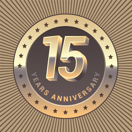 15 years anniversary vector icon, logo. Graphic design element or emblem as a golden medal for 15th anniversary