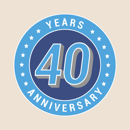 40: 40 years anniversary vector icon, emblem. Design element with blue color medal as a banner for 40th anniversary