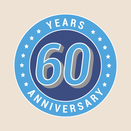 60th: 60 years anniversary vector icon, emblem. Design element with blue color medal as a banner for 60th anniversary