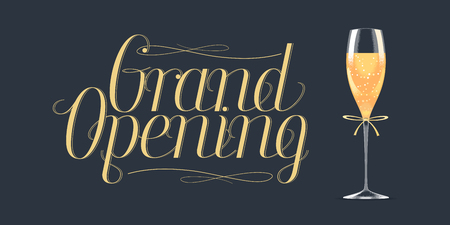 Grand opening vector design element. Illustration