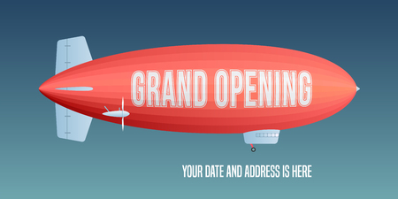 blimp: Vector retro zeppelin with grand opening advertising on it. Store opening soon design element for poster or banner
