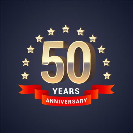 50 年周年記念ベクトルのアイコン、ロゴ。50 周年記念装飾のための黄金の 3 D 番号を持つグラフィック デザイン要素 写真素材 - 76584200