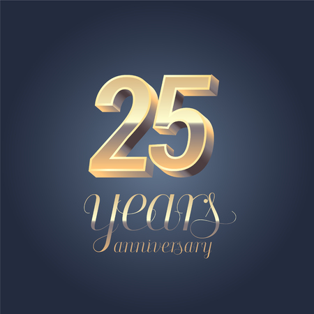 twenty fifth: 25th 20th anniversary icon, Gold color graphic design element for anniversary banner.