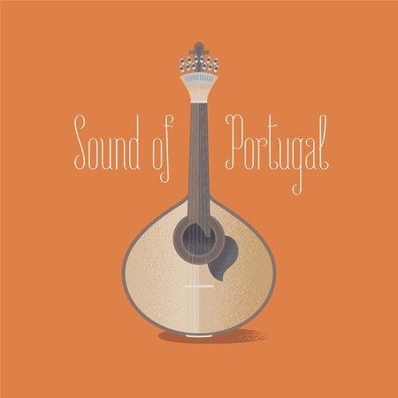Traditional Portuguese guitar fado vector illustration. Design element with acoustic musical instrument famous in Portugal