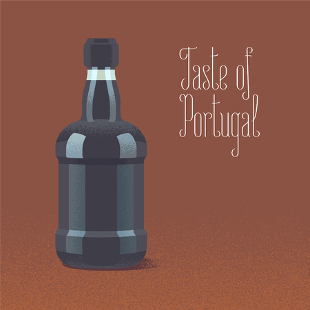 ruby: Bottle of porto wine vector illustration. Design element with traditional Portuguese wine for poster Illustration