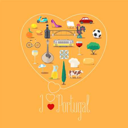 touristic: Heart shape illustration with I love Portugal sign. Portuguese landmarks, food, art vector icons. Travel to Portugal concept banner