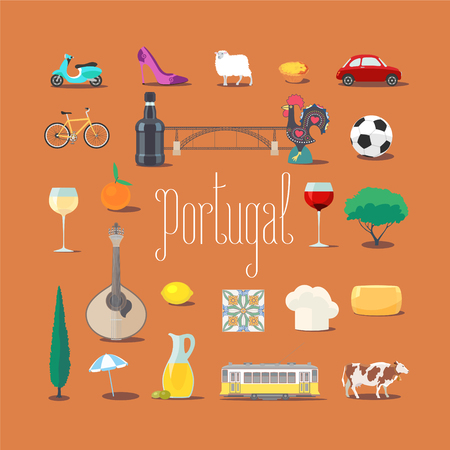 Set of icons with Portuguese landmarks in vector. Barcelos rooster, tramway, port wine, sardine symbols as visit Portugal design elements Stock Illustratie