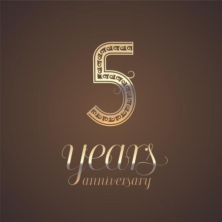 5 años icono del vector del aniversario, símbolo. Elemento de diseño gráfico con el número de oro para el 5 º aniversario de tarjetas de felicitación