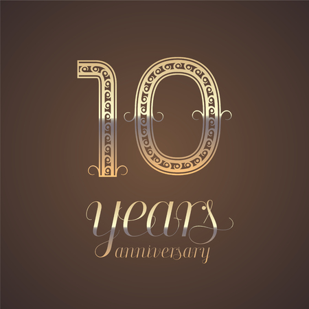 tenth: 10 years anniversary vector icon, symbol. Graphic design element with golden number for 10th anniversary greeting card