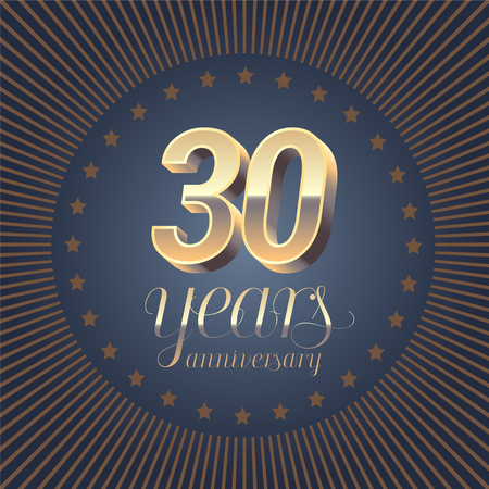 30 Years Anniversary Set Of Vector Icon Number 30th Birthday