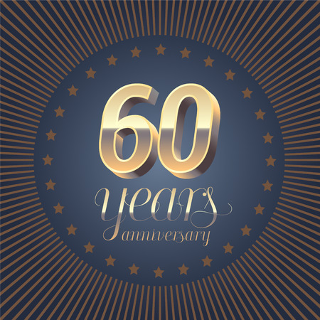 60 years anniversary vector logo. Decoration design element with medal and 3D number for 60th anniversary