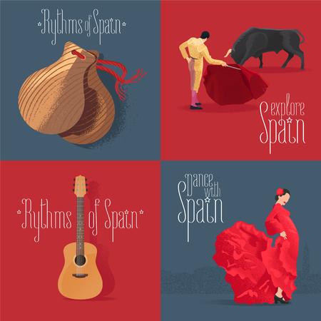 Set of vector illustrations with Spanish symbols: flamenco dancer, Spanish guitar, bull fighter. Design clip-art element for visit Spain concept Illustration