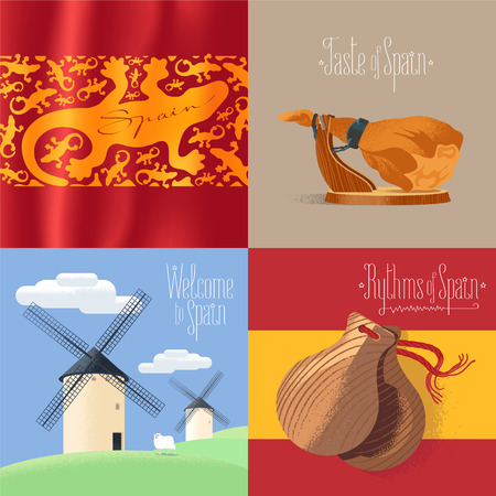 Set of vector illustrations with Spanish symbols - mills, jamon, etc. Design elements for visit Spain concept