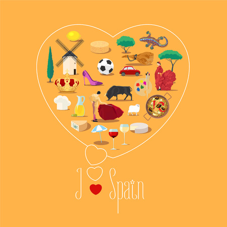 spanish food: Heart shape illustration with I love Spain text. Spanish landmarks, food, people vector icons. Travel to Spain concept poster Illustration