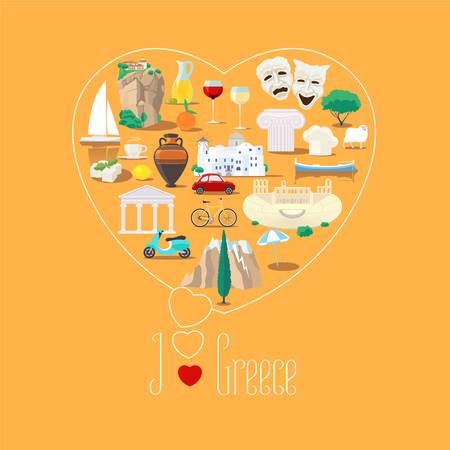 Heart shape illustration with I love Greece sign. Greek landmarks, food, ruins vector icons. Travel to Greece concept poster