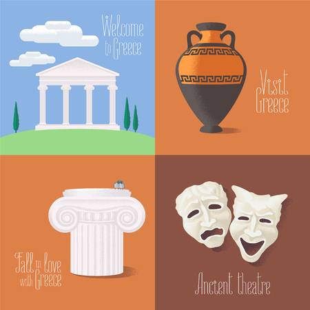 Set of vector illustrations with Greek touristic atractions: ancient ruins, theatre masks, amphora. Clip-art designs for visit Greece concept Vettoriali