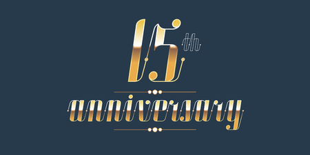 15 years anniversary vector logo. Decorative design element with lettering and number for 15th anniversary Фото со стока - 77979507