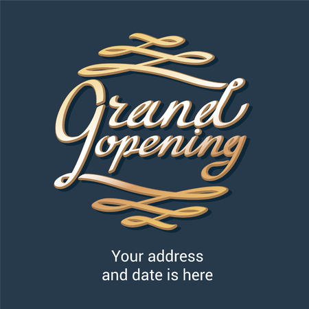 Grand opening vector background with lettering. Template design of banner for store opening event Illustration