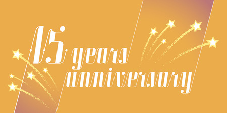 15 years anniversary vector icon, logo. Graphic design element or banner for 15th anniversary