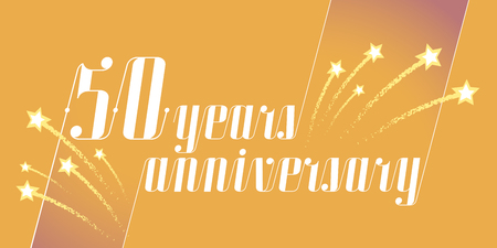 50 years anniversary vector icon, logo. Graphic design element or banner for 50th anniversary