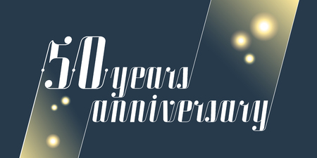50 years anniversary vector icon, logo. Graphic design element with lettering and festive fireworks for 50th anniversary ceremony