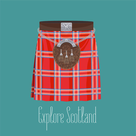 Scottish traditional skirt kilt with square pattern vector illustration. Concept image of traveling to Scotland Illustration